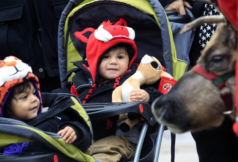 Adrian and Julian Barrera watch the reindeer.