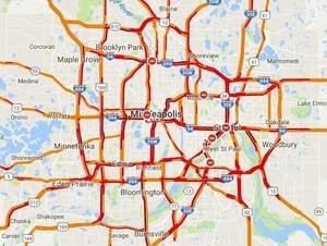 Twin Cities traffic, as of 4:44 p.m. on Jan. 22, 2018.