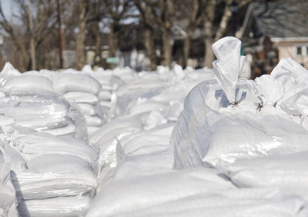Stacks of sandbags