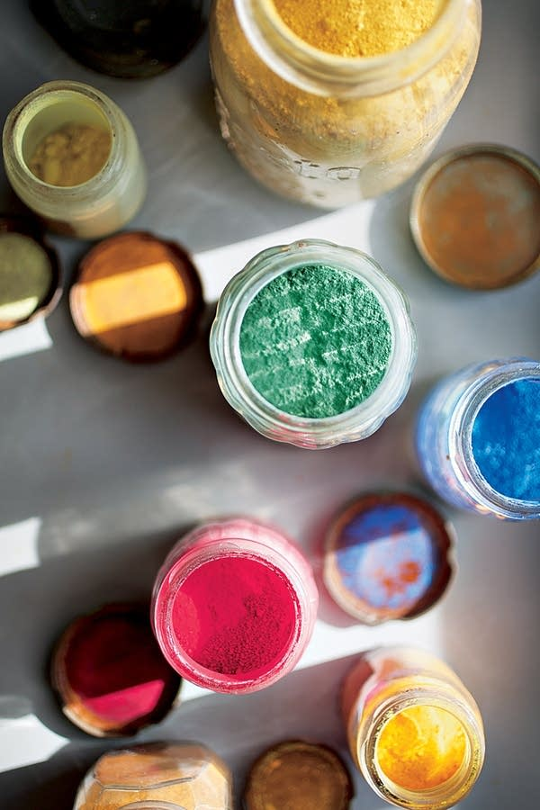 Jackson and Lee's collection of paint pigments that they kept from their WPA art projects.
