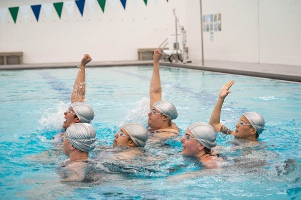 Synchronized swimmers perform in the pool.