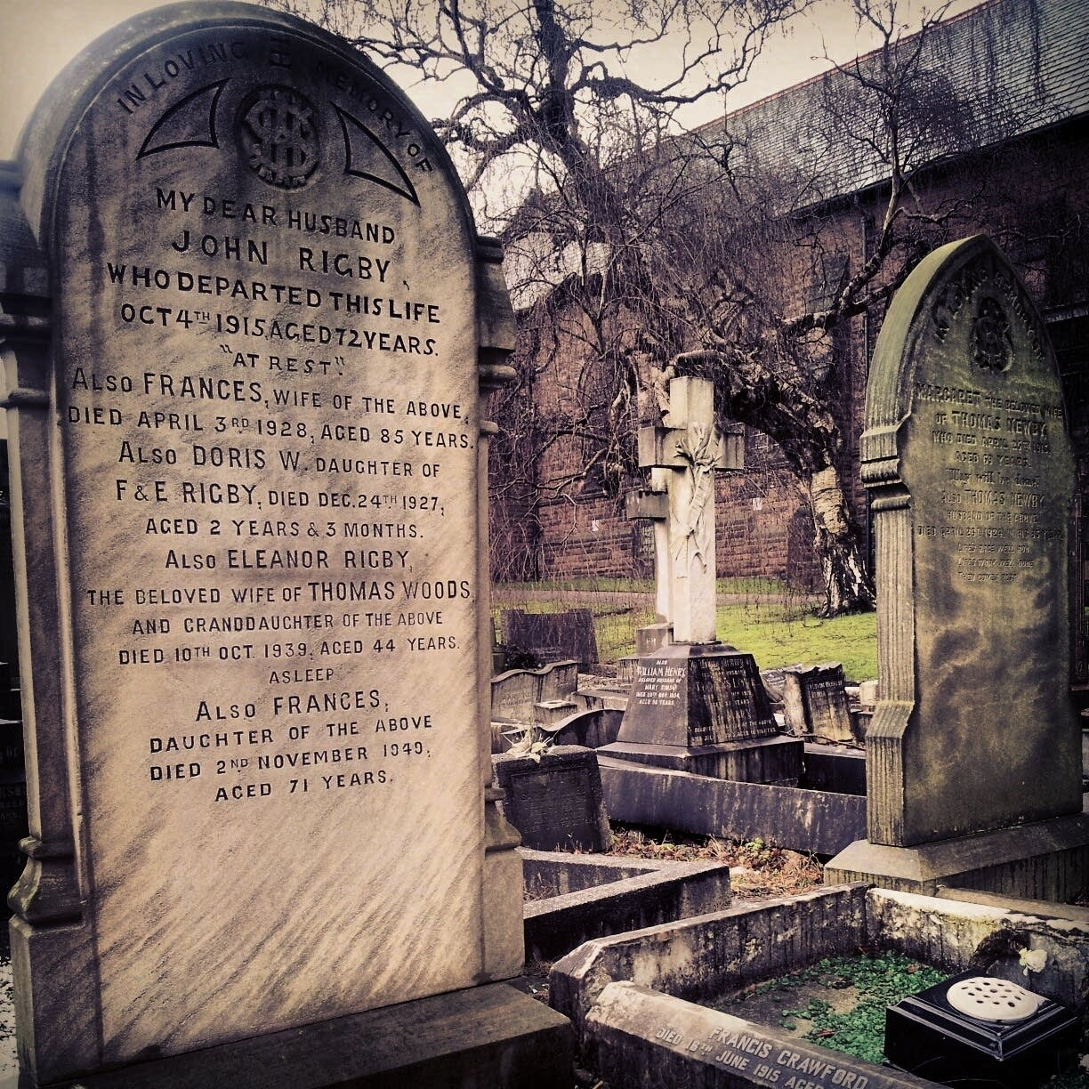 Eleanor Rigby's grave in Liverpool.