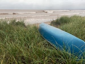 This canoe disappeared from the beach a year ago.