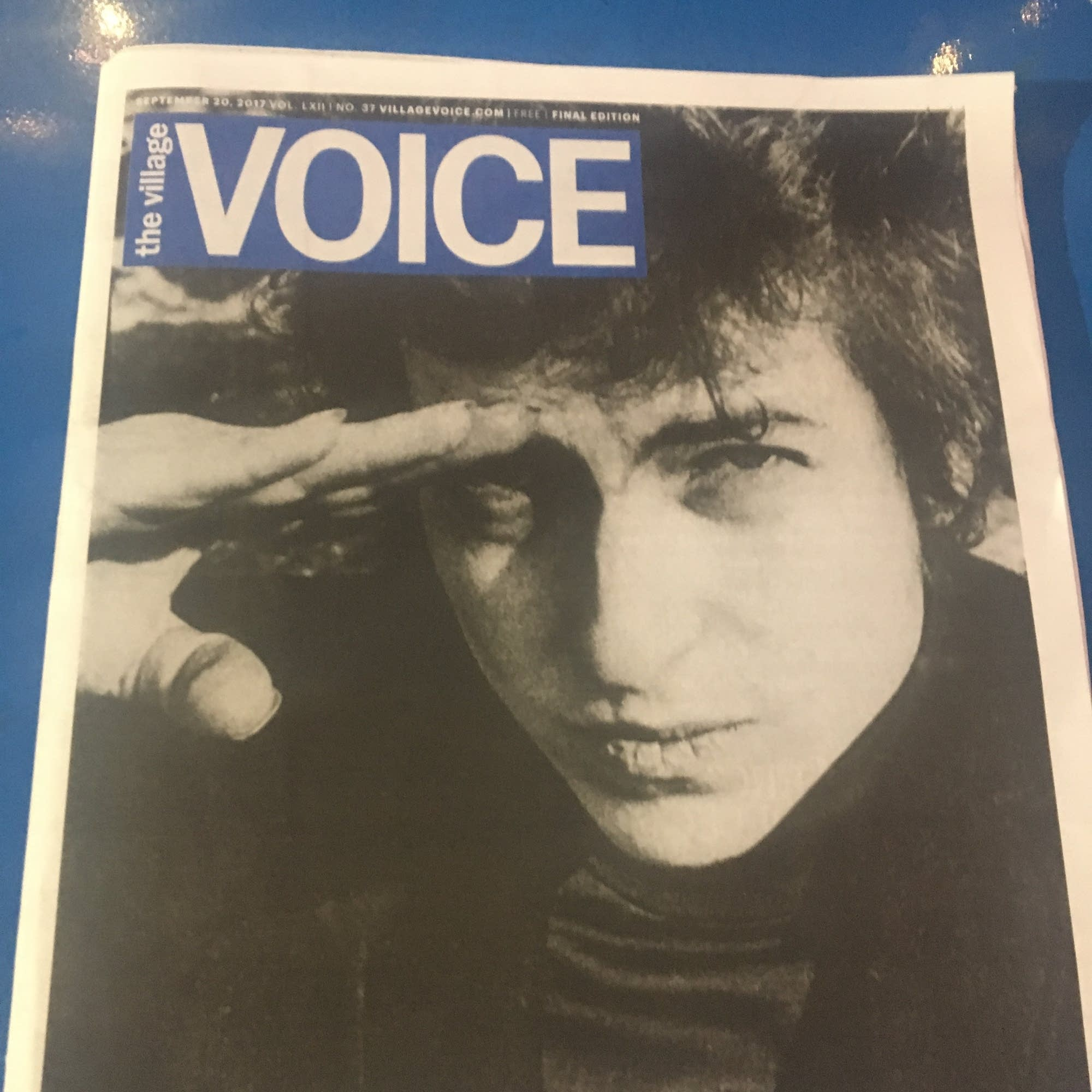 Bob Dylan on the cover of the final Village Voice print edition.