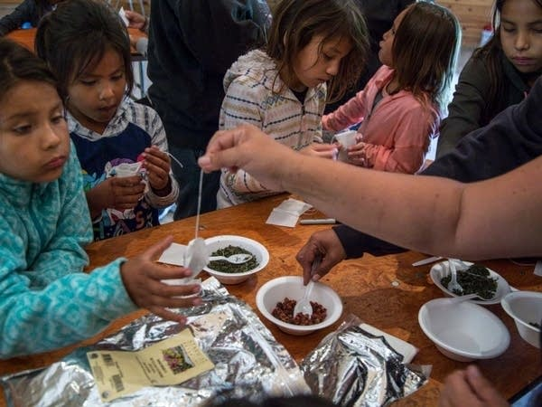 Children are shown how to create their own tea bags.
