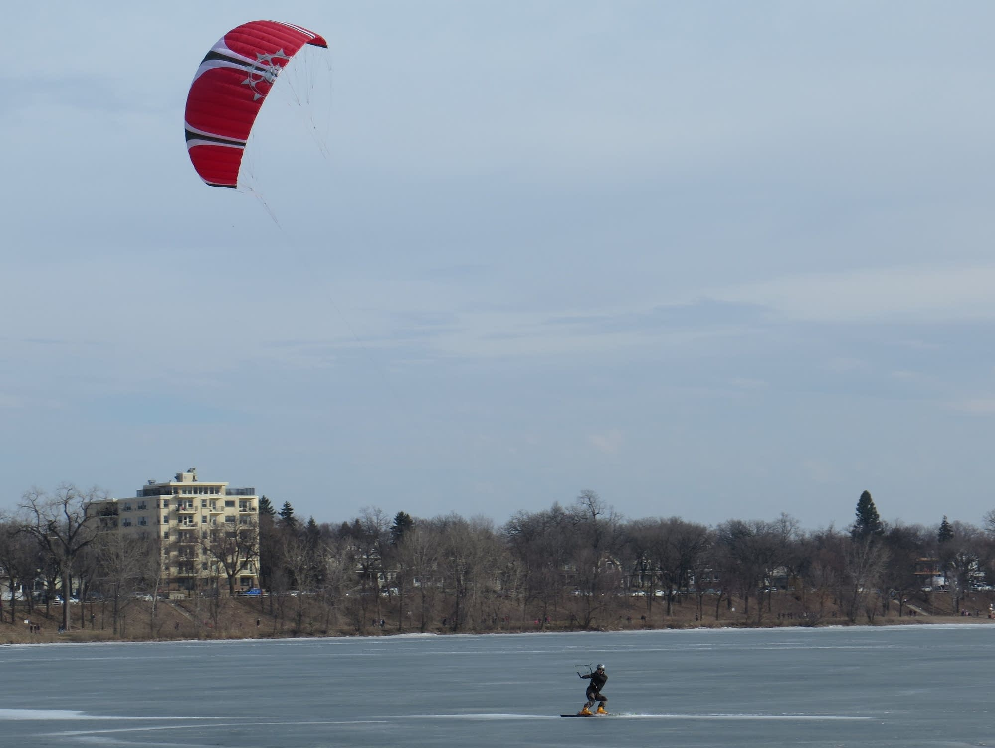 A kite skiier on Lake Calhoun, Feb. 19, 2017.