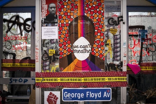 The bus stop at 38th and Chicago is part of a memorial to George Floyd