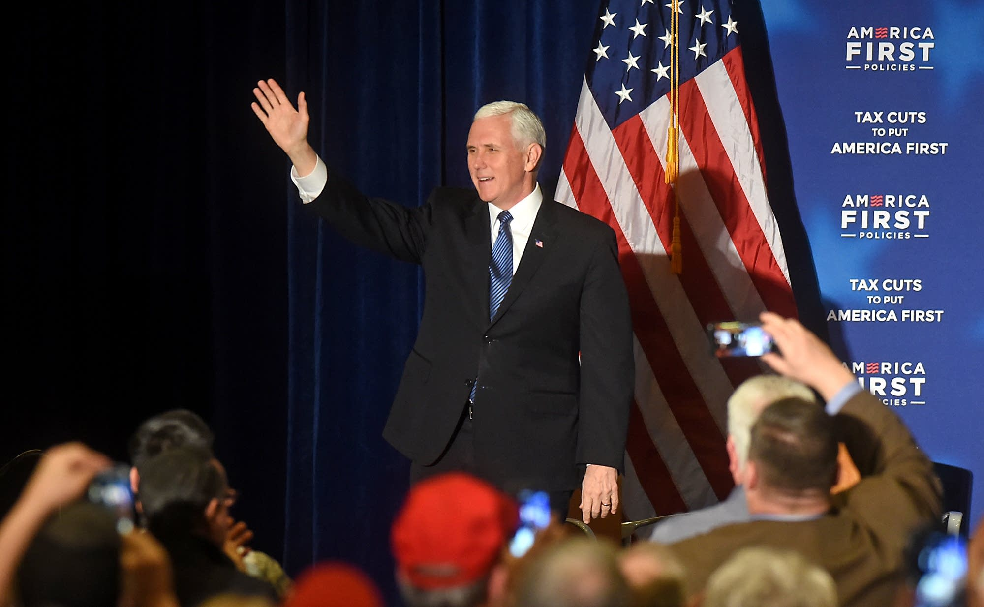 Vice President Mike Pence greets his supporters prior to his remarks.