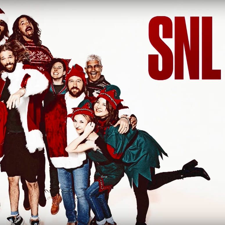 A promotional still from the Foo Fighters' SNL appearance.