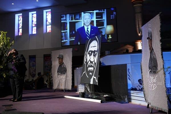 Joe Biden speaks via video link at George Floyd's funeral.