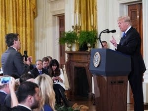 President Trump gets into a heated exchange with Jim Acosta.