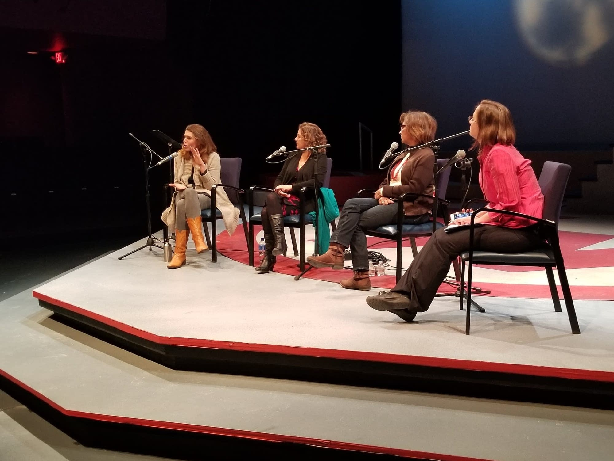 Reporter Marianne Combs hosts a discussion with women theater directors