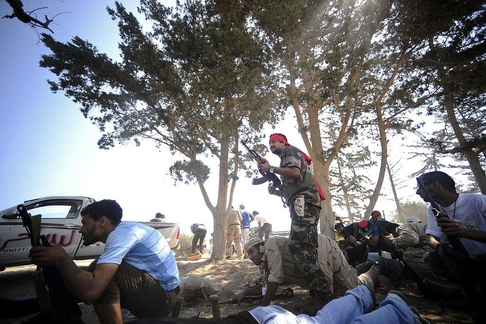Libyan rebels outside Tripoli