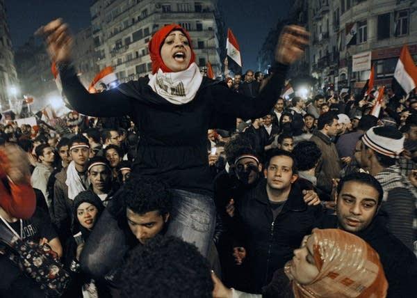 Egyptian woman celebrates