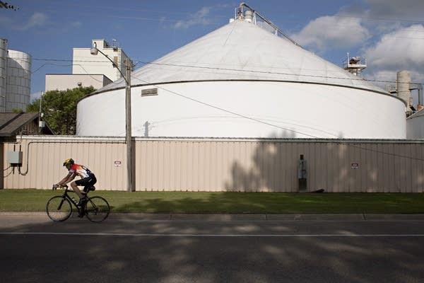 Biking past the processing plant