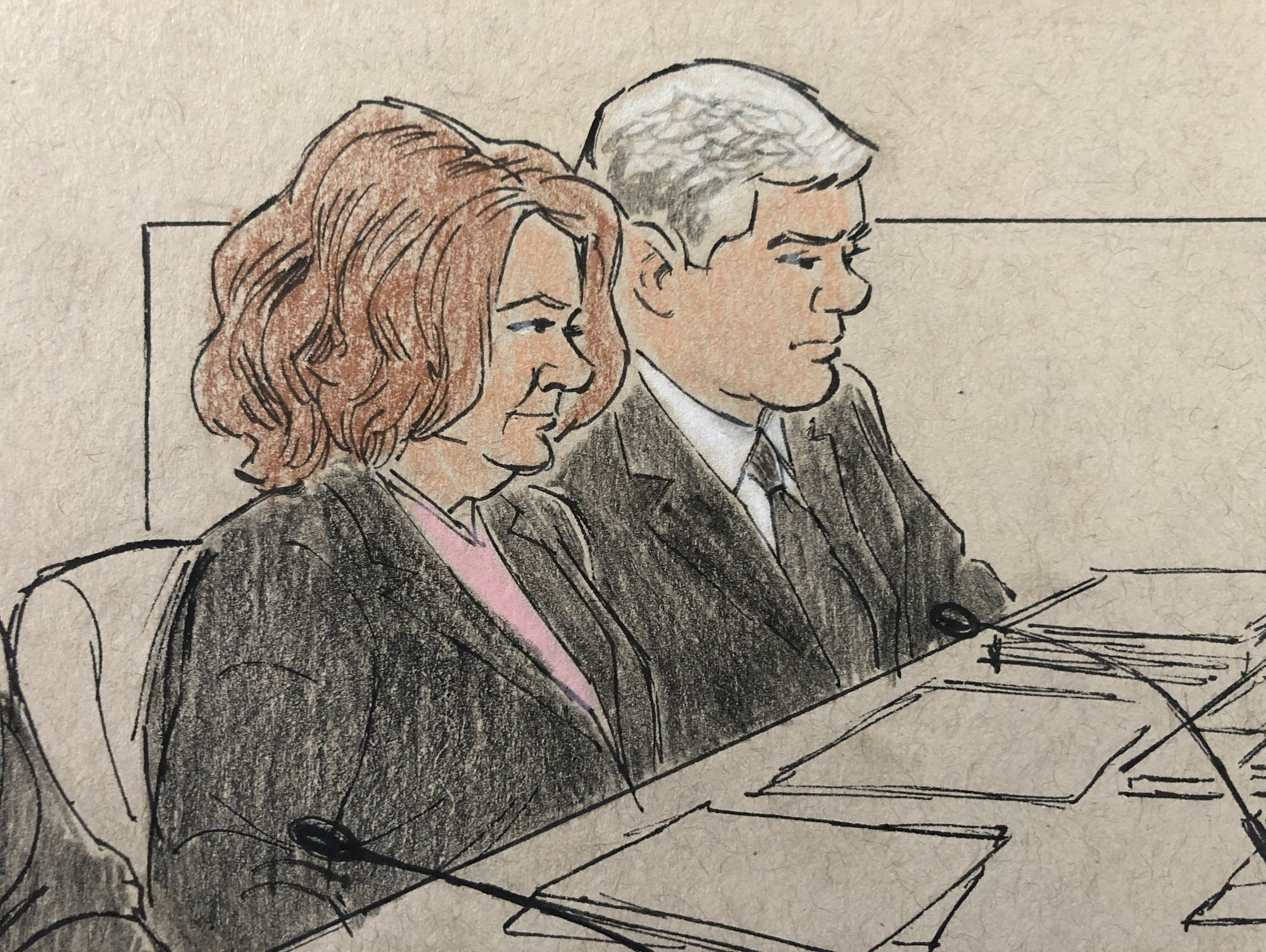 This sketch shows prosecuting attorneys during ex-cop Noor's trial.