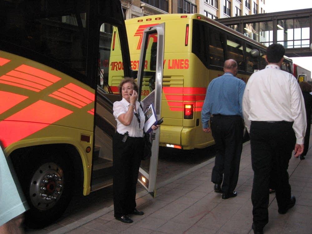 Shuttle buses for party delegates