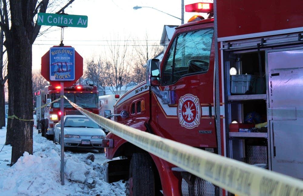 Fire trucks at  the scene