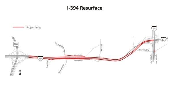 Interstate 394 construction
