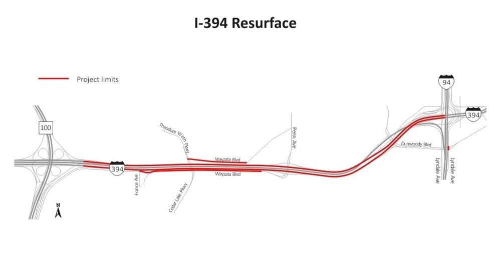 Interstate 394 construction