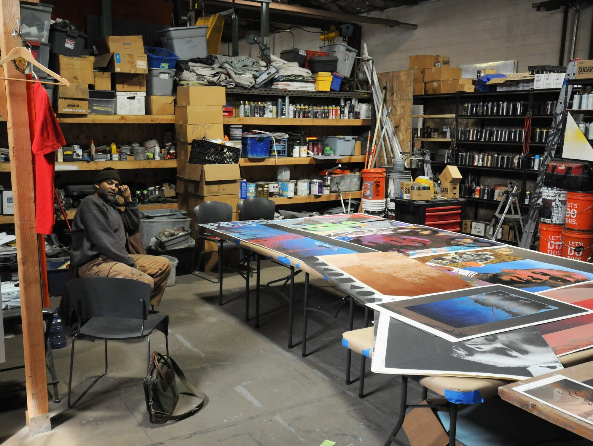 Artist Peyton in his Casket Arts studio.
