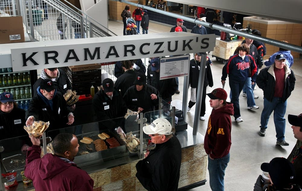 Serving sausage at Target Field
