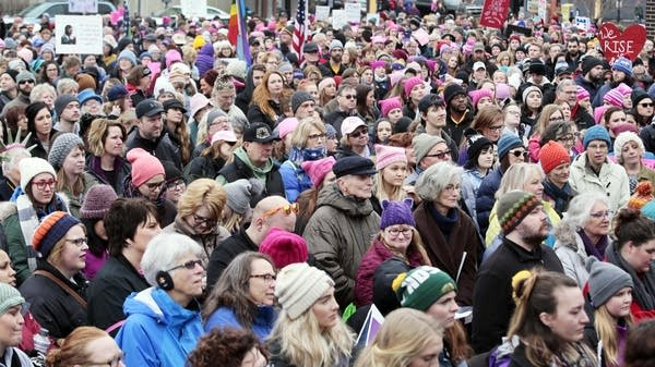 About 1000 people rallied in Fargo Saturday.