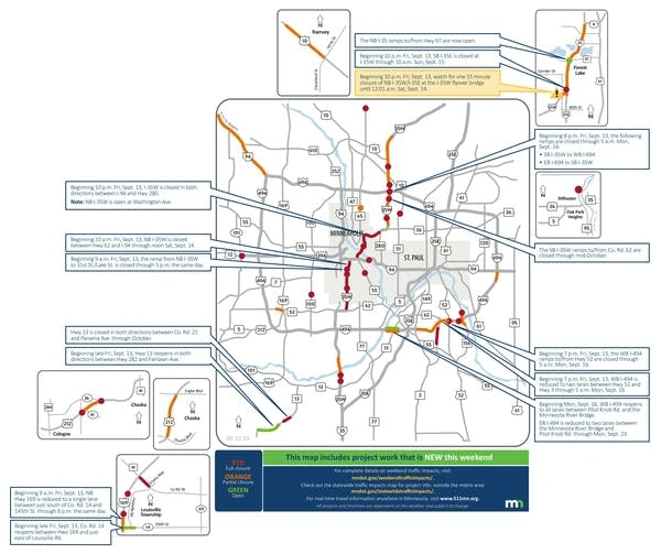 A map showing closed roads in the Twin Cities