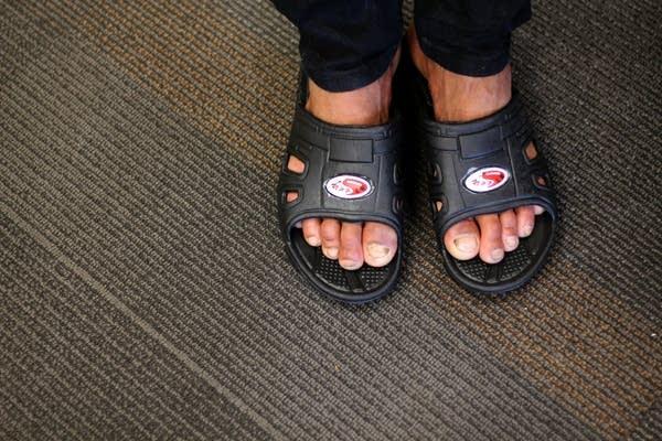 Arriving in sandals