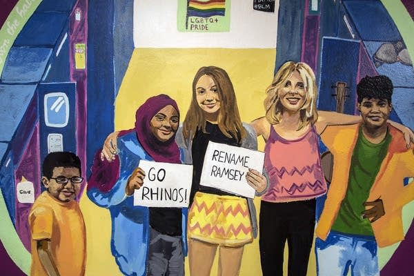 A newly painted mural at Ramsey Middle School reads, 'Rename Ramsey.'