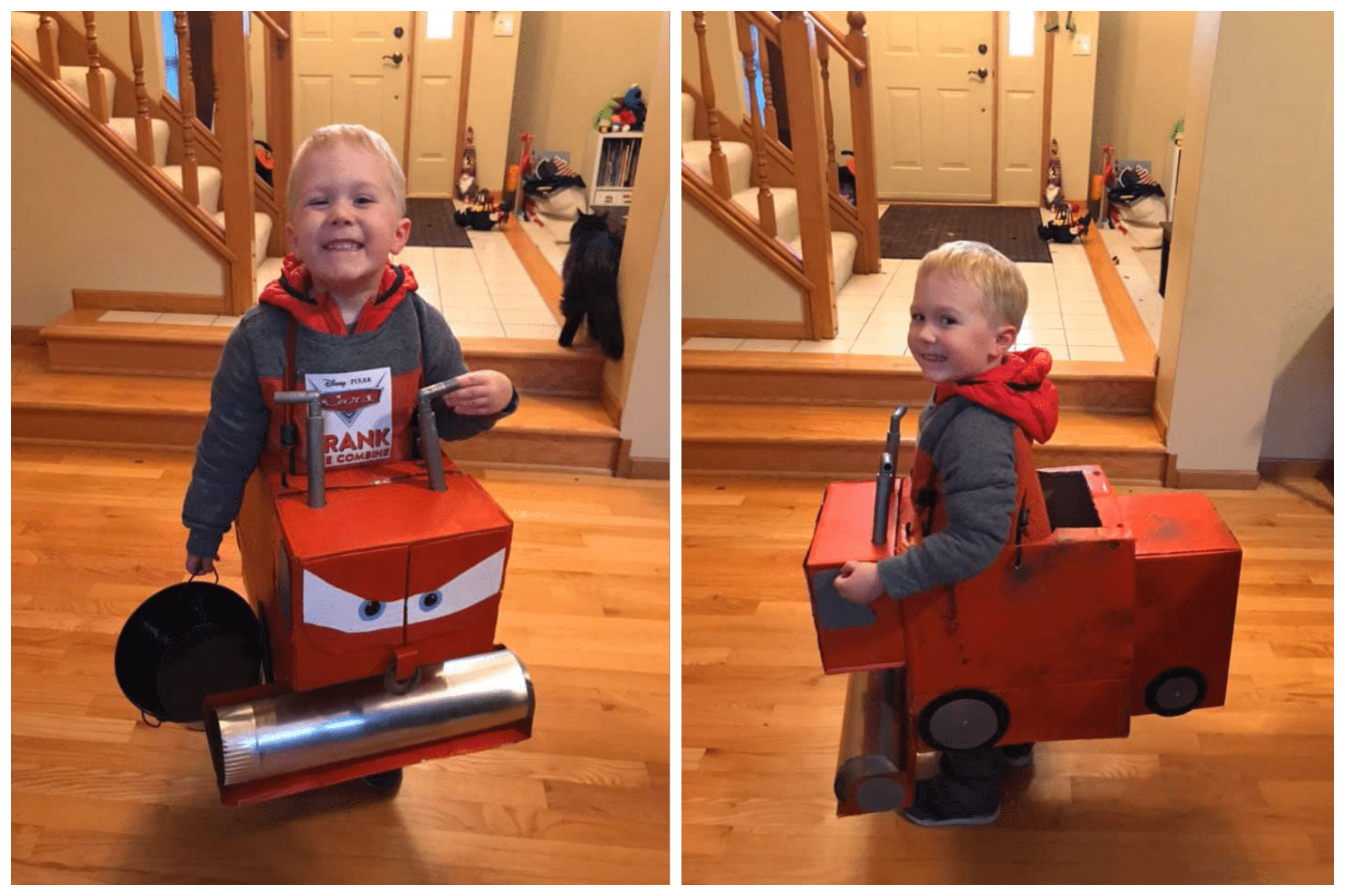 A child dressed up as a cartoon combine.