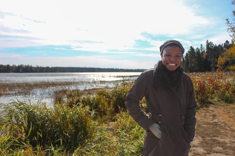 Martine Tchitchihe at the Mississippi headwaters.