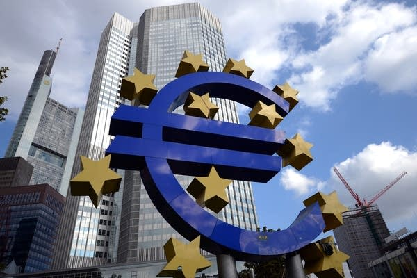 The giant logo of the Euro currency