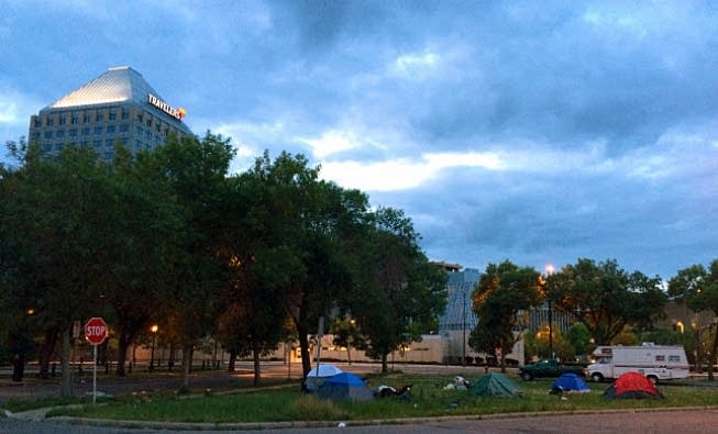 Tents in downtown St. Paul