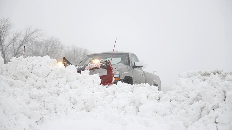 Snow plowing in Fergus Falls, Minn.