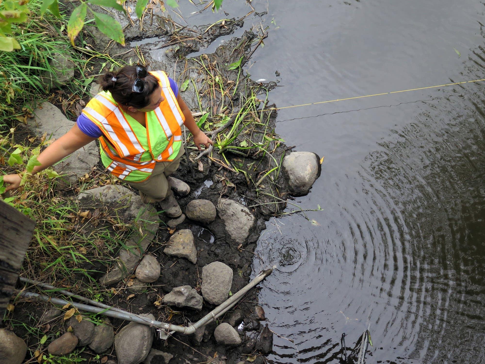 DNR hydrologist Erynn Jenzen stands near the North Fork Crow River.
