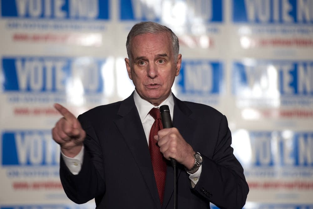 Dayton at voter ID 'no' party