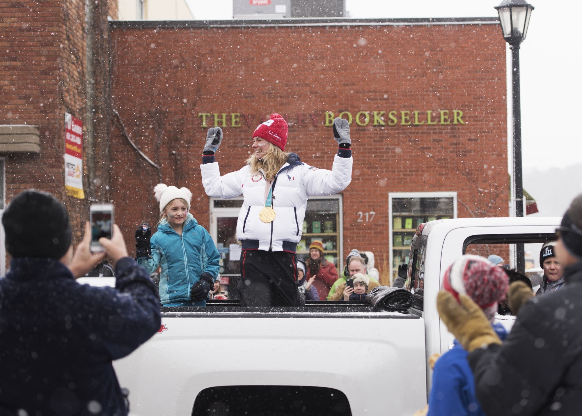April snow flies as Olympic medalist Jessie Diggins gets a hero's welcome.