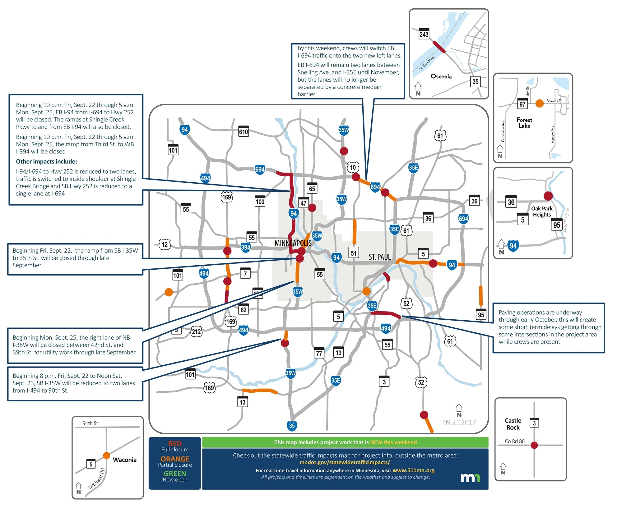 A look at road closures and other traffic woes this weekend.