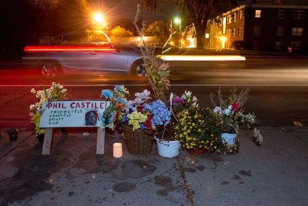 A makeshift memorial for Philando Castile