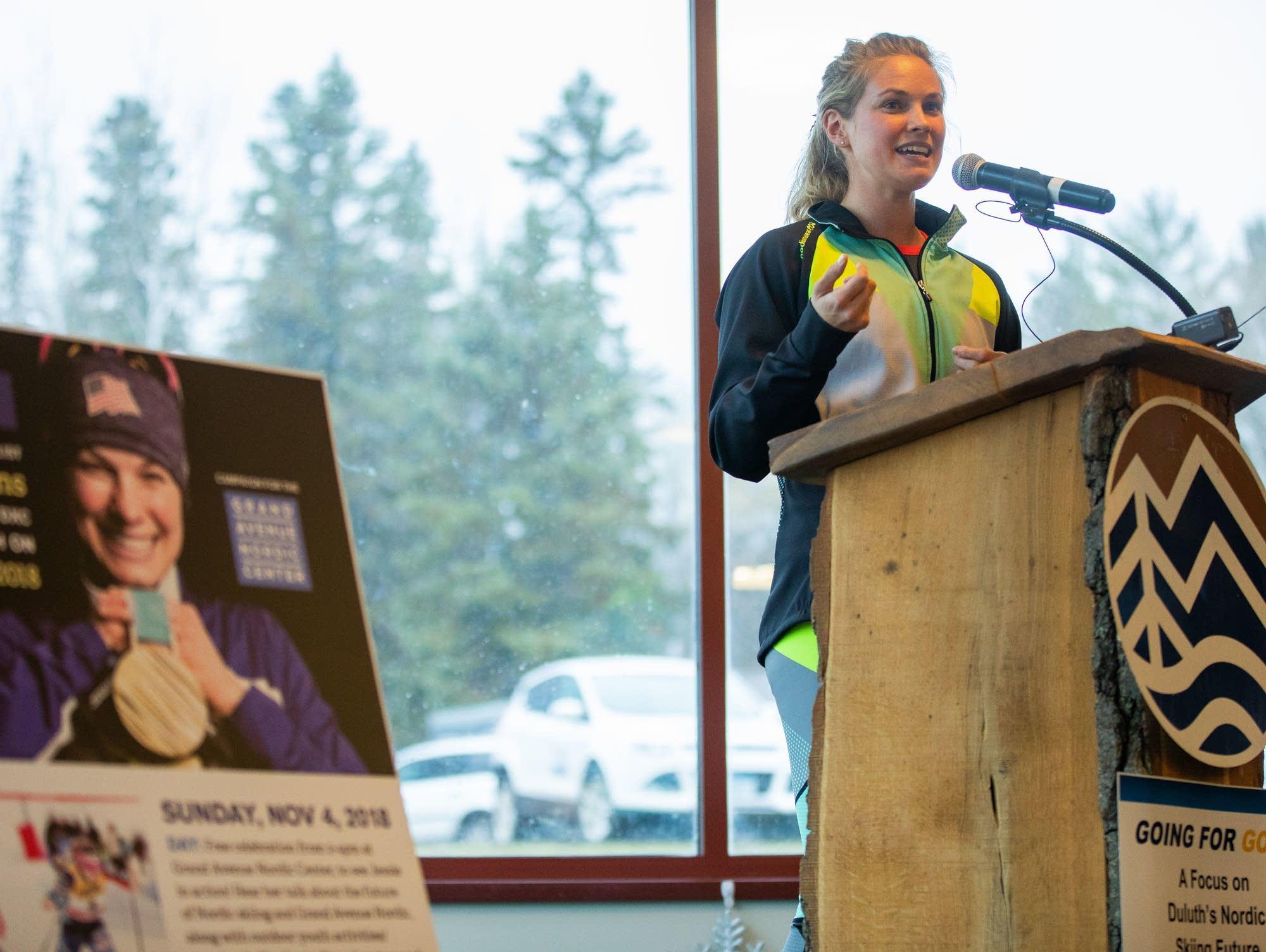 Jessie Diggins speaks in Duluth