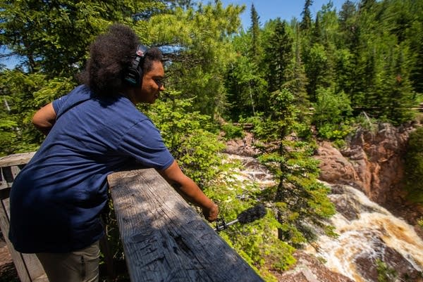 MPR News host Angela Davis records audio of the High Falls.