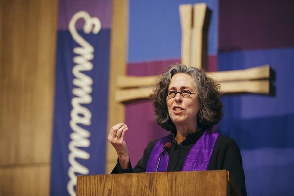 Rev. Sarah Campbell delivers a sermon.