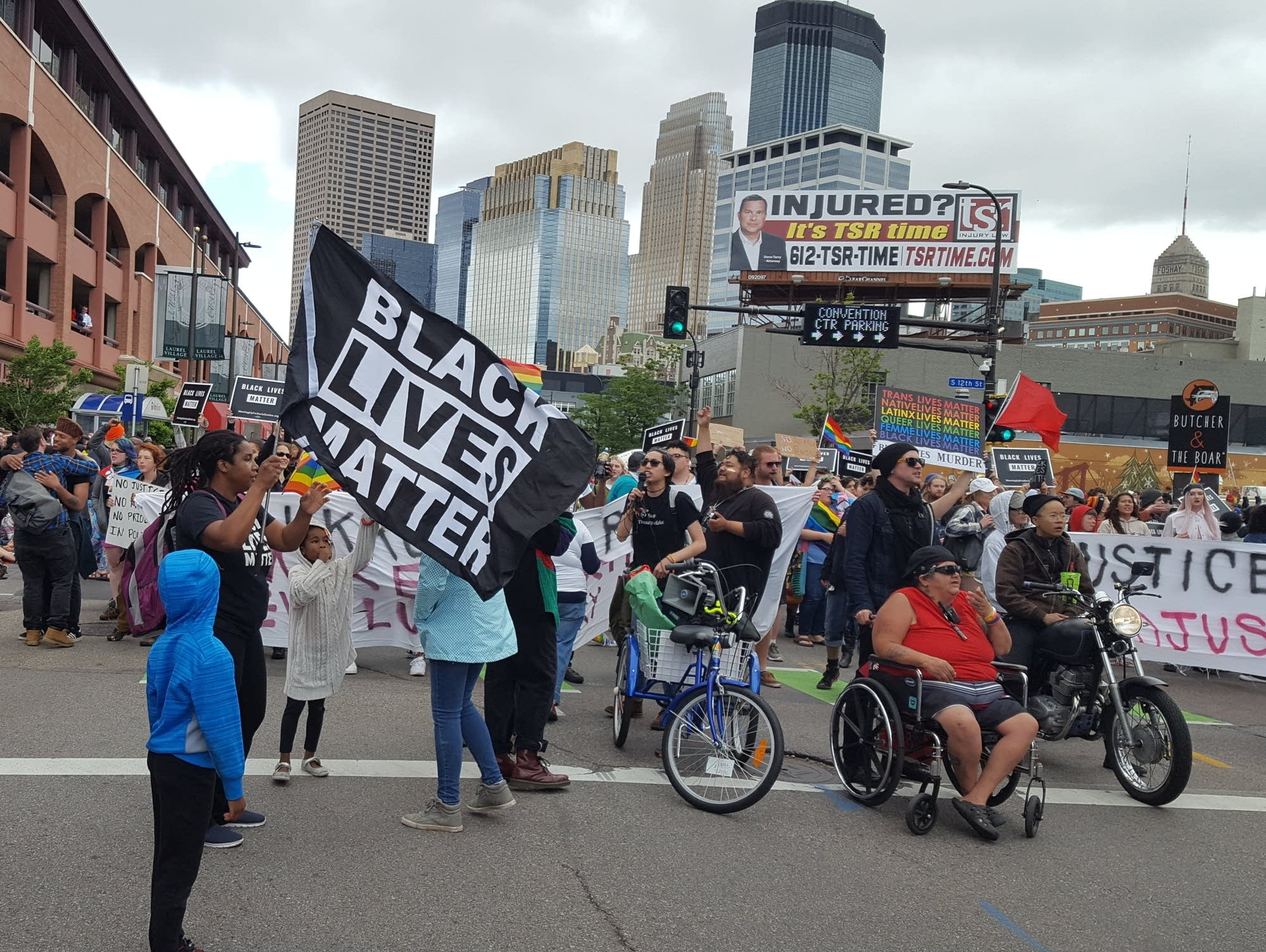 Protests held up the annual Pride parade in downtown Minneapolis.
