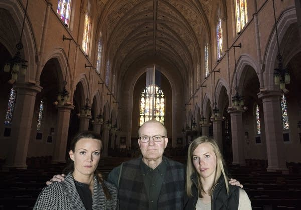 Sisters Andrea Larson, right, and Marnie Henke with their father David Larson.