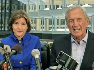 Minn. AG Lori Swanson announces a run for governor with Rep. Rick Nolan.