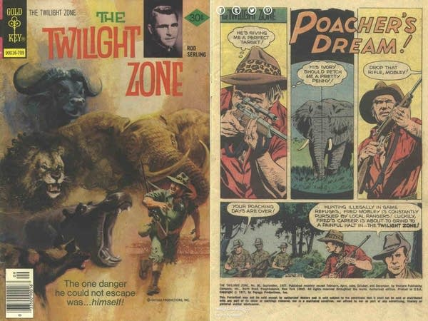 Twilight Zone comic book cover & first page. Wild animals & Poacher.