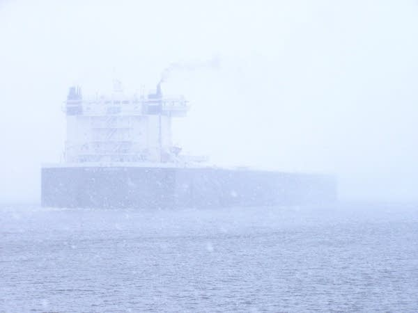 Lake Superior ship in the snow