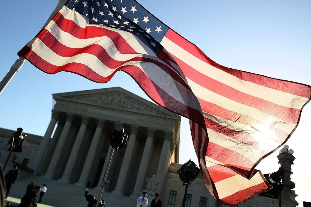 A protester's flag at the Supreme Court