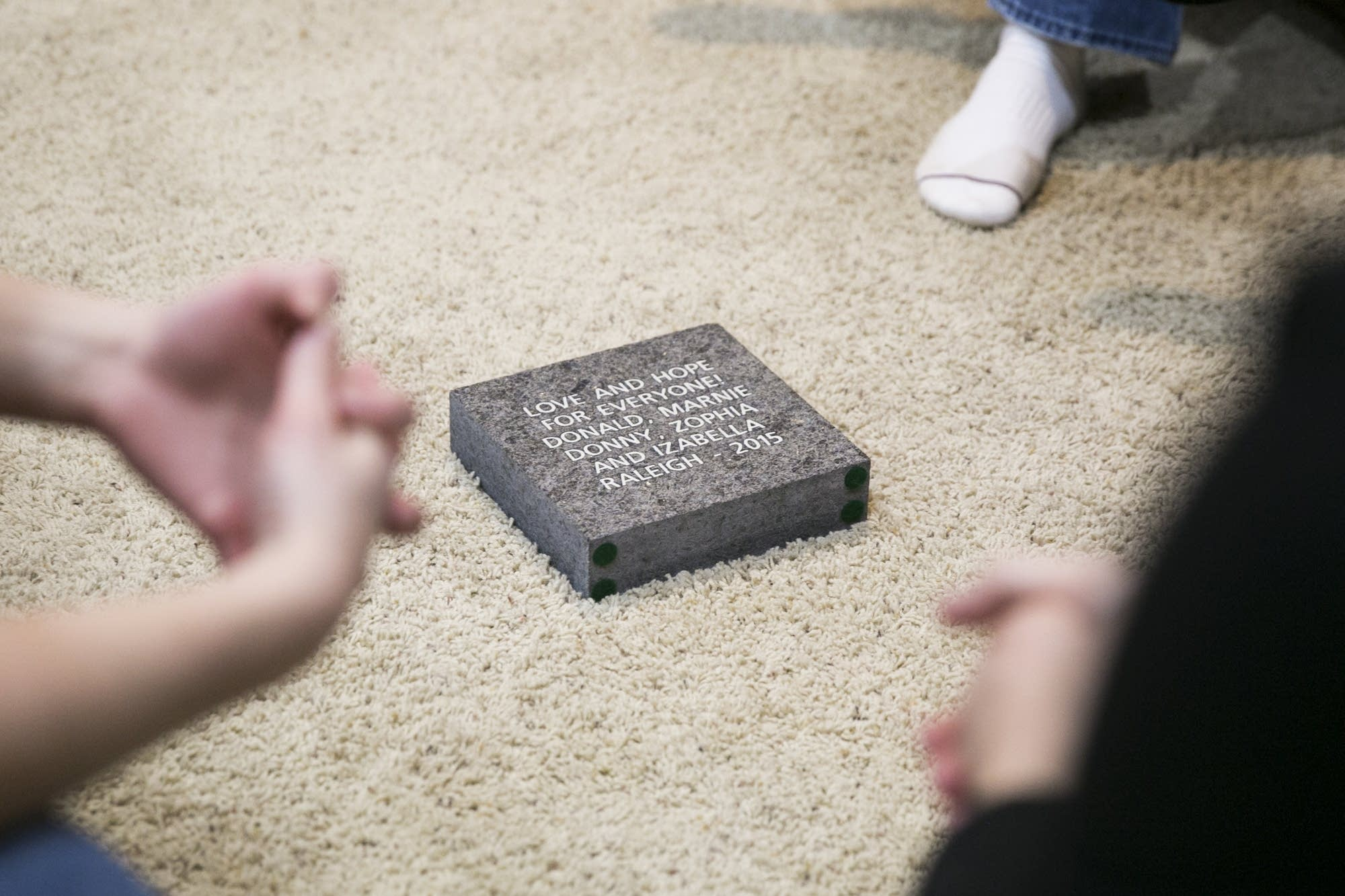 The Raleigh family's engraved brick.